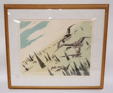 1207_PENCIL SIGNED DUCK PRINT TITLED *SEARCH*. EDITION #255/260. 21 X 17 INCH SI
