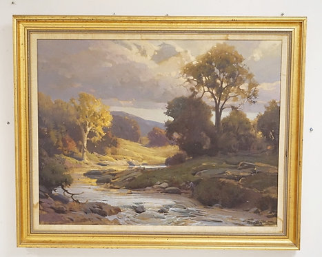 LANDSCAPE OIL PAINTING ON CANVAS WITH TREES LINING A BROOK AND MOUNTAINS IN THE