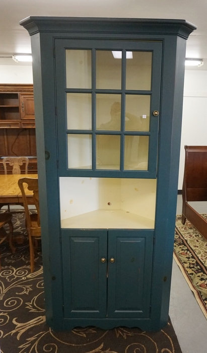 9 PANE CORNER CUPBOARD, PAINTED BLUE. 39 IN WIDE, 78 IN H