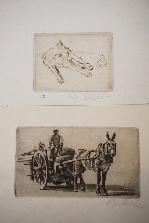 2 RICHARD MULLER ETCHINGS. (1874-1954). *ITALIAN WAGON* 66 X 117 MM. AND *KID II