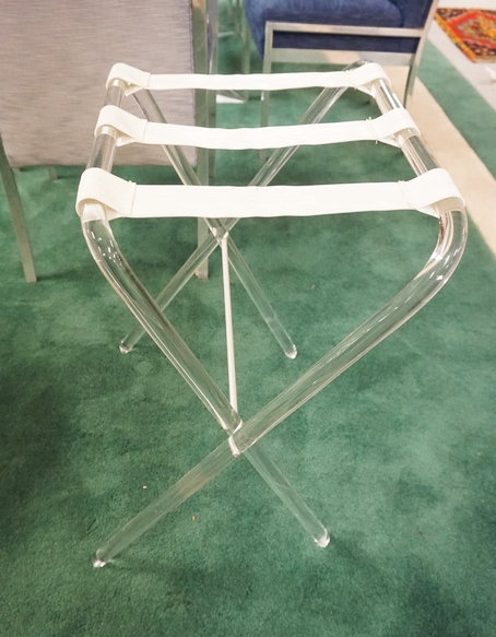 LUCITE FOLDING LUGGAGE STAND.