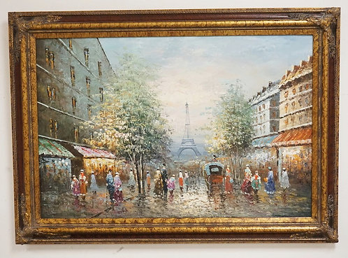 OIL PAINTING ON CANVAS OF A FRENCH STREET SCENE WITH THE EIFFEL TOWER IN THE BCA