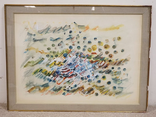 MID CENTURY MODERN WATERCOLOR PAINTING. SIGNED LOWER RIGHT (ILLEGIBLE). 40 1/2 X