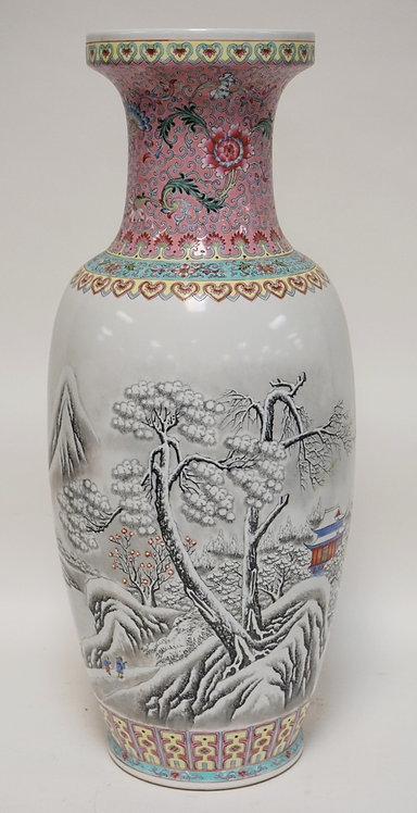 CONTEMPORARY ASIAN PORCELAIN FLOOR VASE. 24 INCHES HIGH.