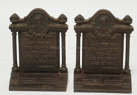 PAIR F BRADLEY & HUBBARD (B&H) CAST IRON BOOKENDS READING *AND STEP BY STEP, SIN
