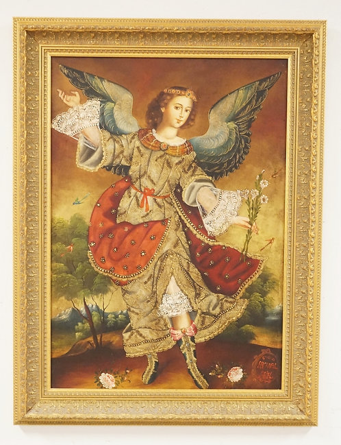 OIL PAINTING ON CANVAS OF ARCANGEL ARIEL. 25 1/2 X 33 1/2 INCH FRAME.