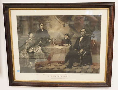 PRINT *LINCOLN FAMILY* PUBLISHED BY THOMAS KELLY. IN WALNUT VICTORIAN FRAME WITH