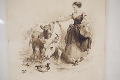 FELIX OCTAVIOUS CARR DARLEY WATERCOLOR PAITNING OF A WOMAN TENDING TO COWS AND D