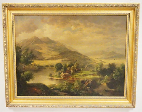 LANDSCAPE OIL PAINTING ON CANVAS. SIGNED *STANTON* LOWER RIGHT. 38 X 48 INCH FRA