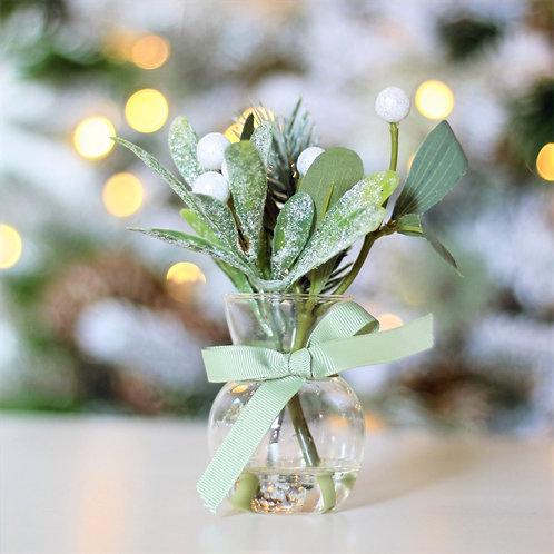 """6.5"""" Iced Mistletoe/Pine in Glass Vase"""