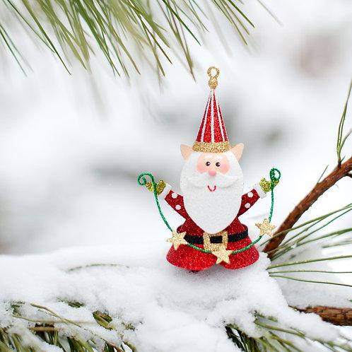 """5.5"""" Elf w/Star Garland Ornament (Red)"""