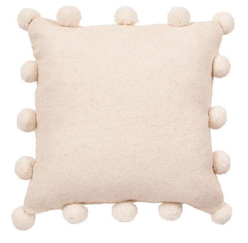 Cream Pom Pom Felted Pillow Cover