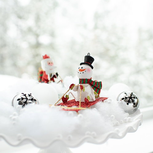 "3"" Snowman on Sled w/Gift Ornament"