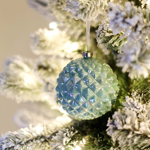 "4"" Glass Geometric Ball Ornament"