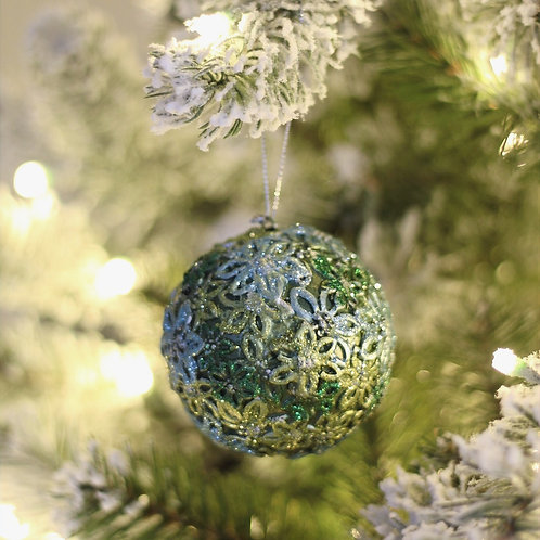 "3"" Bellaflor Ball Ornament Set of 2"