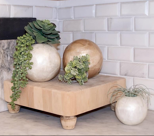 Large Capiz Round Globe Vase