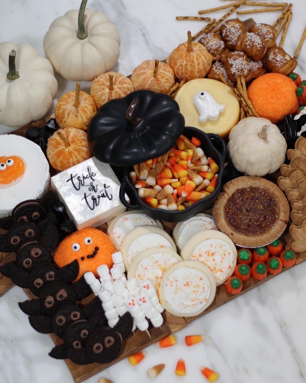 halloween charcuterie board, charcuterie board, halloween fun, snacks, food board