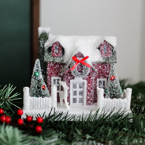 Vintage Christmas Cottage with Two Trees