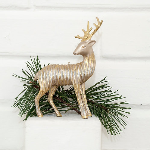 Champagne Gold Reindeer Ornament Set/2