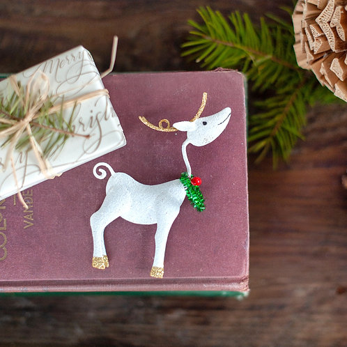 Glittered Reindeer with Wreath Ornament