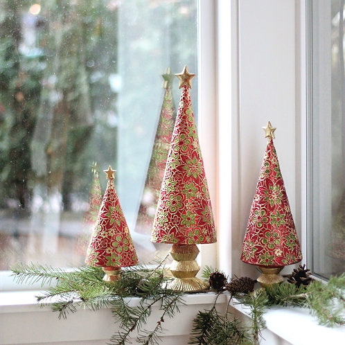 Floral Lace Cone Tree with Star