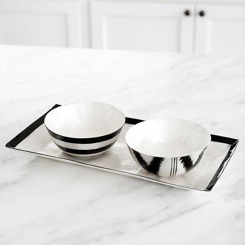 Black and White Capiz Bowls