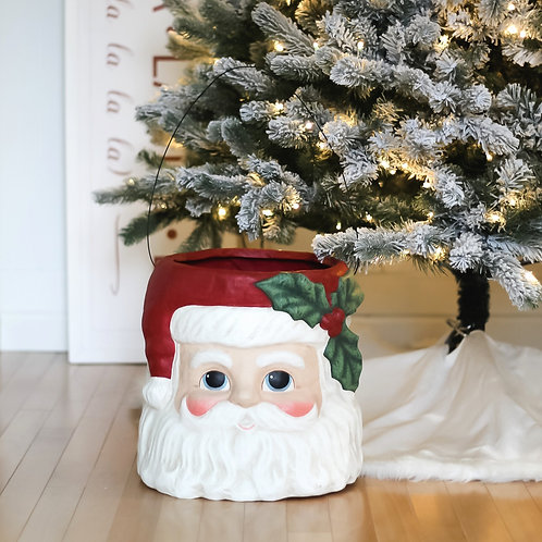 Large Paper Mache Santa Bucket Container