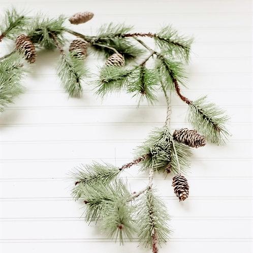 5' Iced Pine Cone Garland