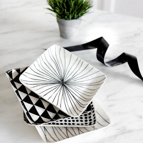 Black and White Square Capiz Plate