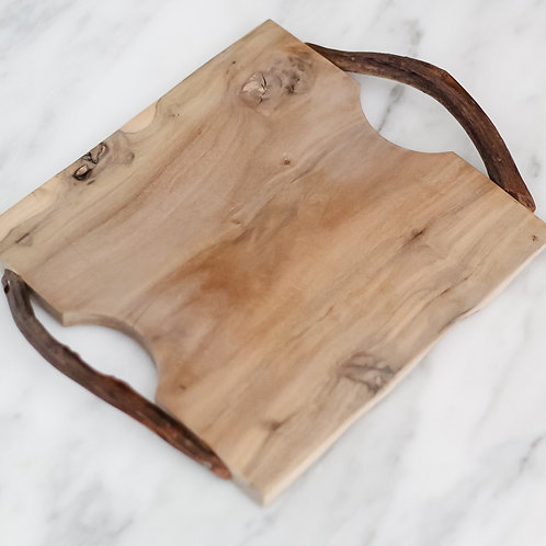 Reclaimed Wood Square Tray with Twig Handles
