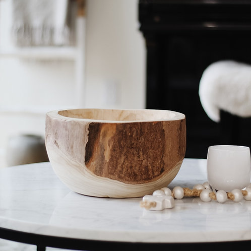 Margo Round Wood Centerpiece Bowl