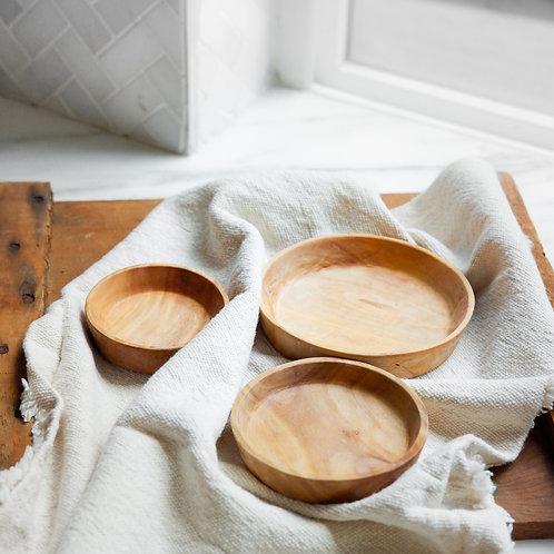 Wood Round Dish Set