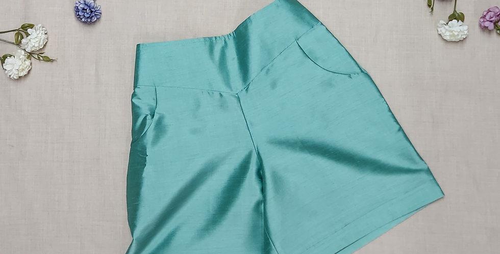 Silk High-Waist Shorts with Pocket