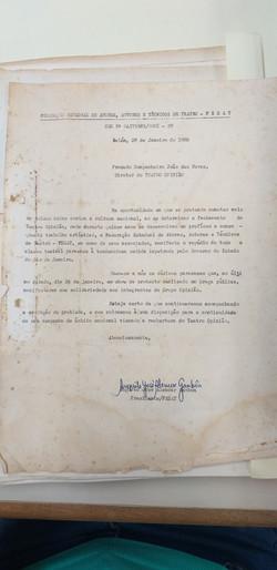 Carta de Augusto José Alencar Gamboa sobre o fechamento do Teatro Opinião