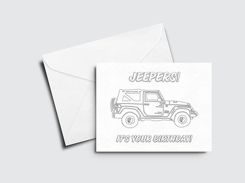 Jeepers Birthday Color Your Own Card