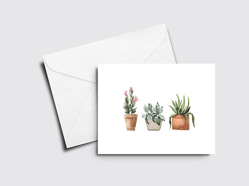 3 Potted Plants Card