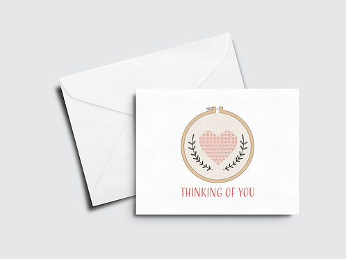 Thinking of You Card - Cross Stitch