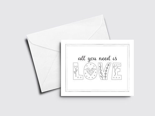 All You Need is Love - Color Your Own Card