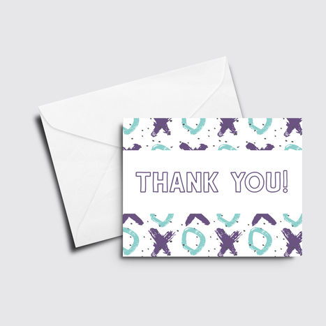 X's and O's Thank You Card