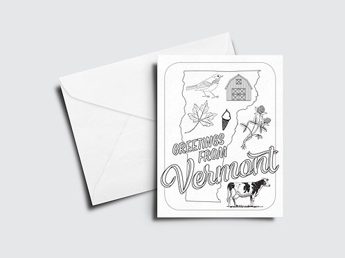 Greetings From Vermont Color Your Own Card