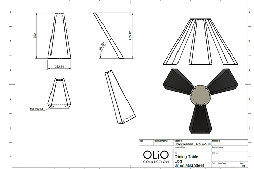 Trinate - Dining Table (Fabrication drawings)