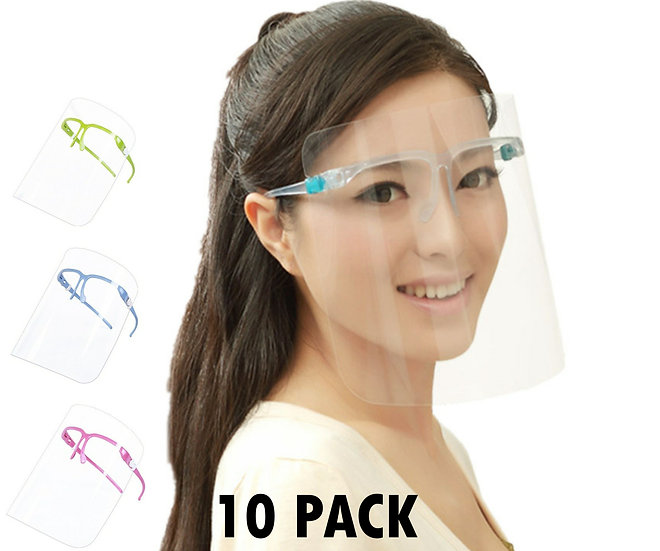 VIP Face Shield Guard Mask Safety Protection With Glasses -10 Pack