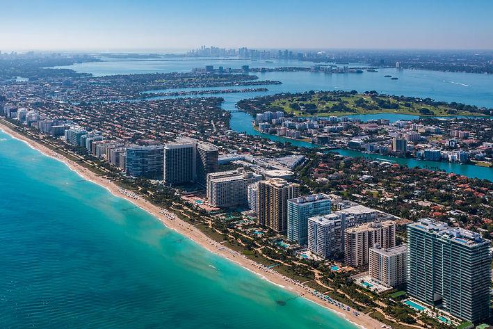 High altitude aerial shot of mid Miami B
