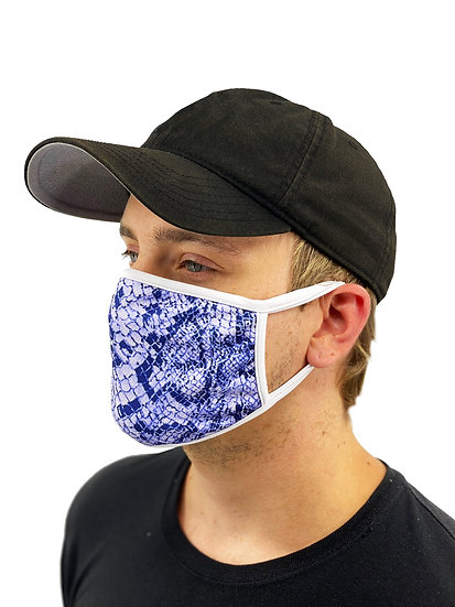 Blue Snakeskin Face Mask With Filter Pocket