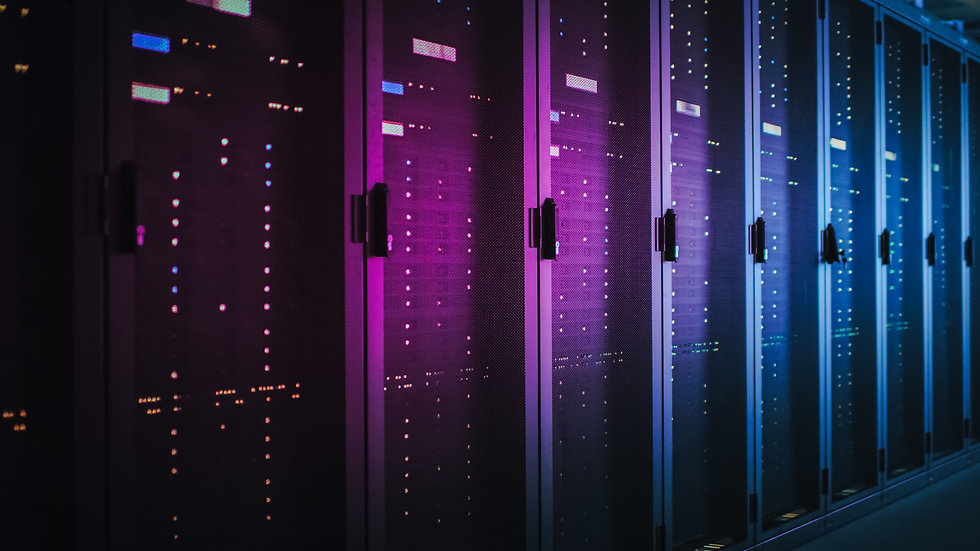 Shot of Dark Data Center With Multiple R