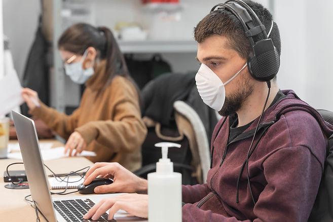 Coronavirus. Business workers working fr