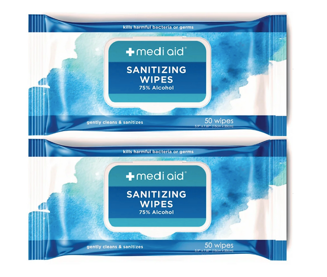 2 Packs of (50 count) Mediad sanitizing wipes