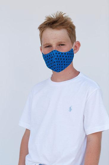Youth Blue Polka Face Mask