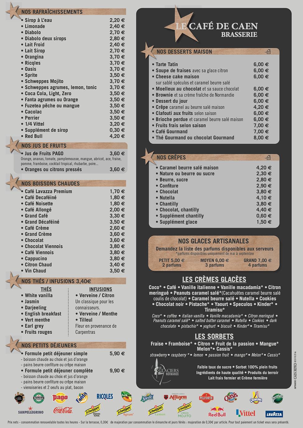 Boissons et desserts Le Café de Caen