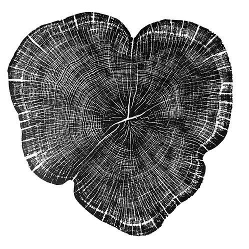 "Coeur de Chêne (noir) - 18"" x 18"" inches"